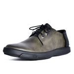 Stitched heel rivet trim laced leather men's shoes