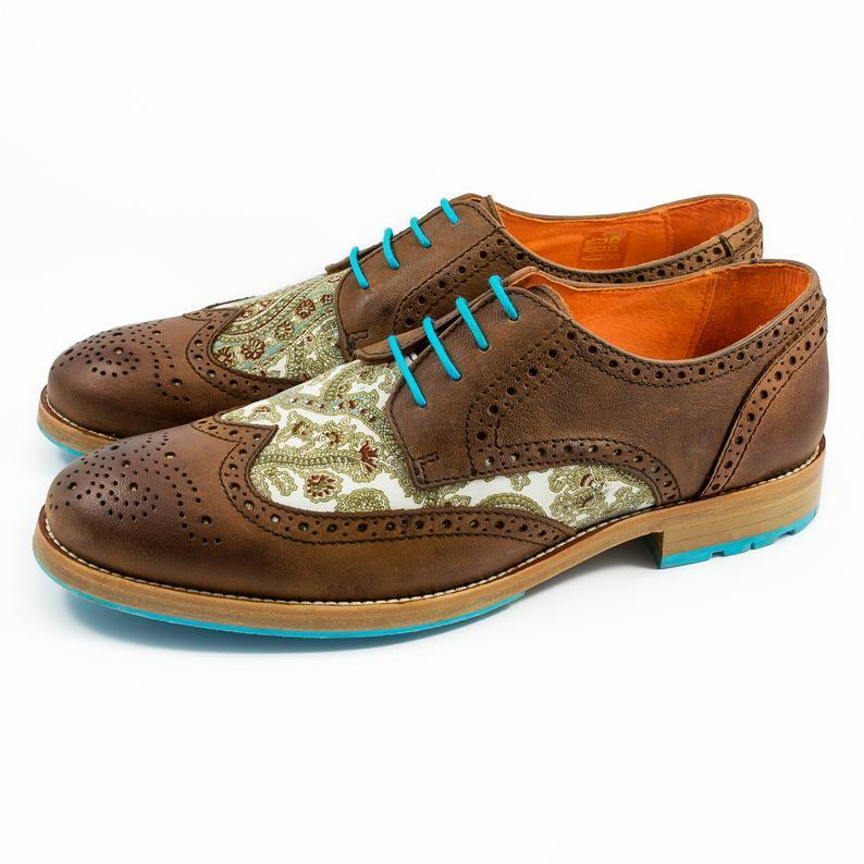 Handmade  Embroidery Pattern Derby Leather Shoes