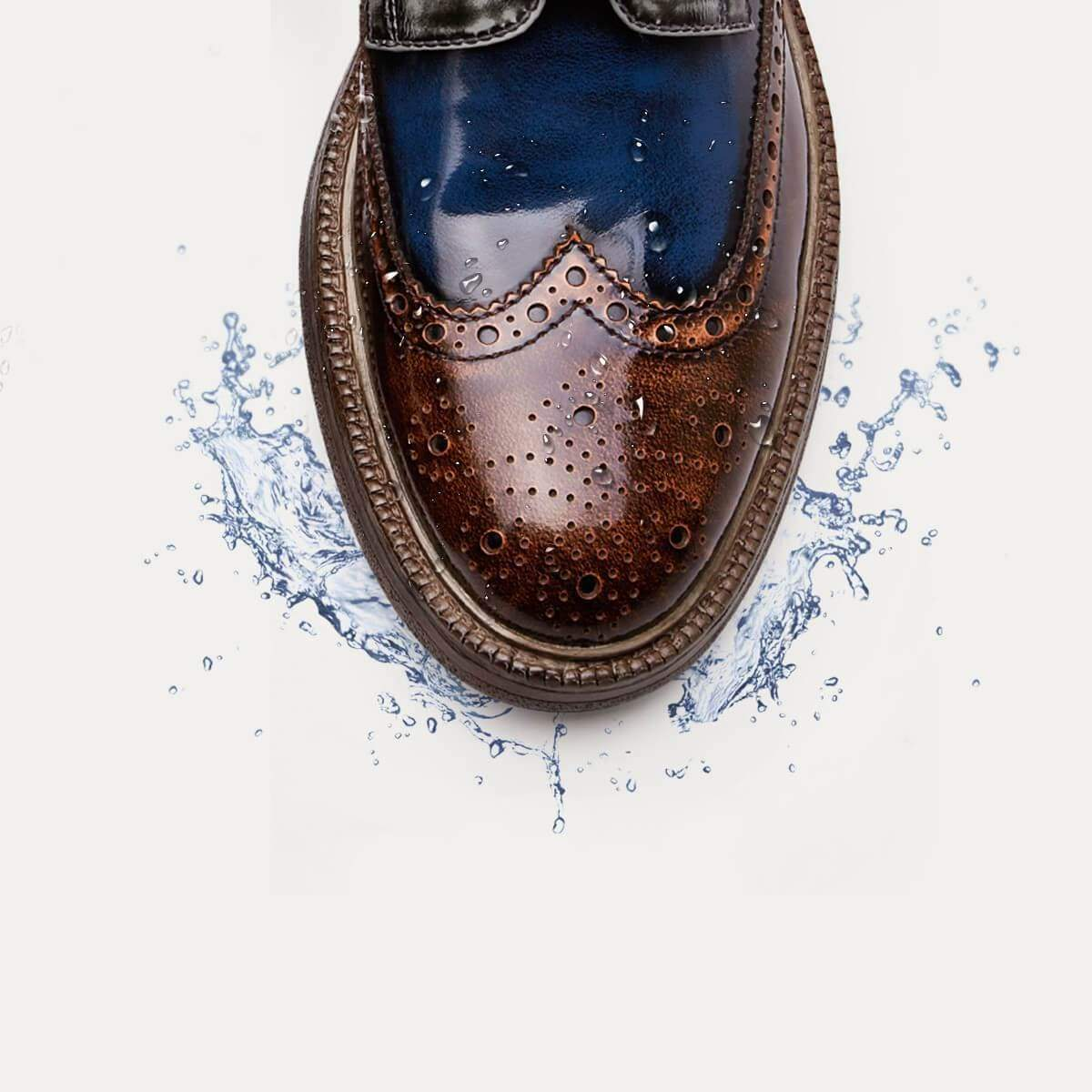Handmade  Brush  Tricolor Splice Brogue Leather Shoes