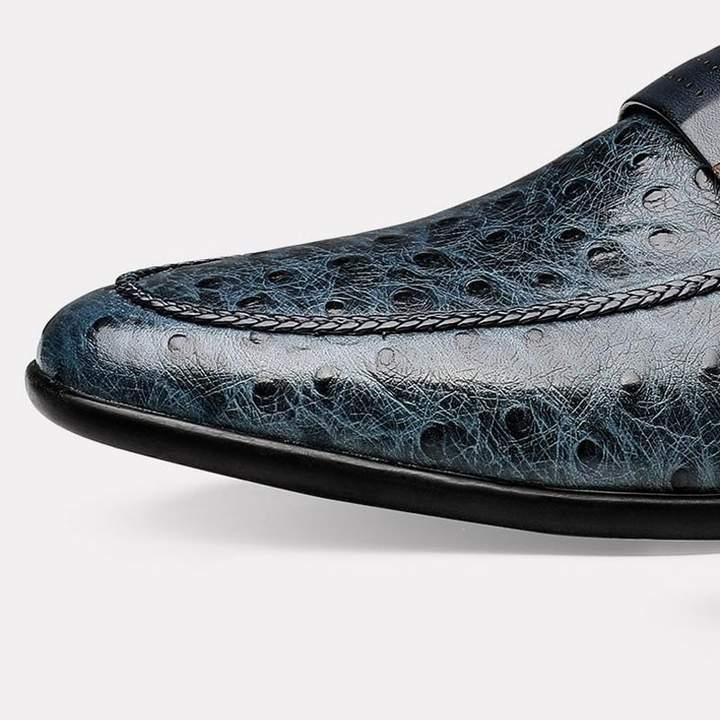 Handmade Ostrich Pattern Loafers
