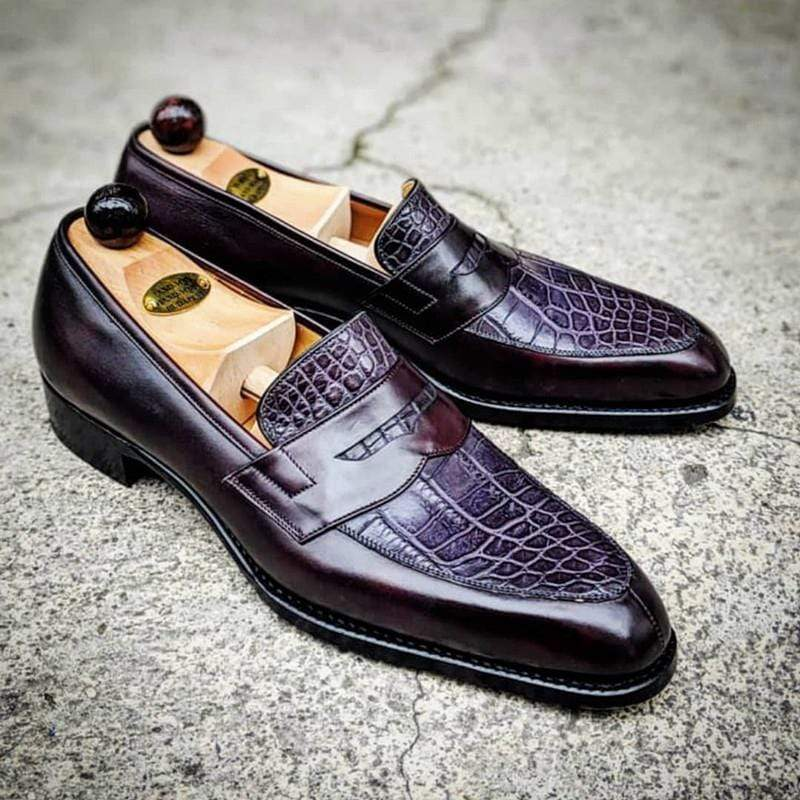 Men's Fashion Crocodile Leather Loafers
