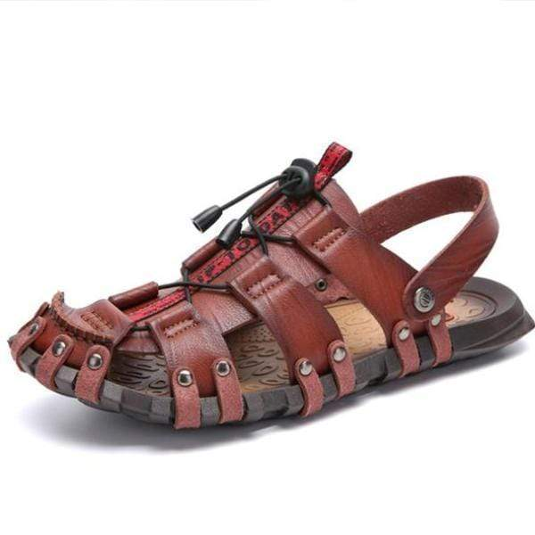 Large Size Real Leather Hand Stitching Hook Loop Beach Sandals