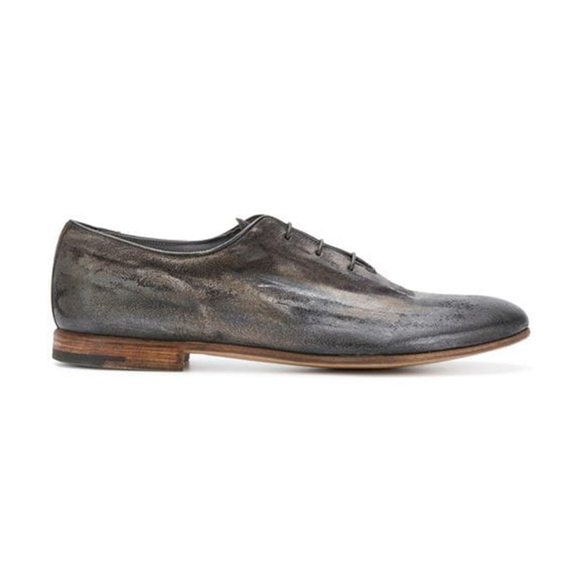 Men's Grey Leather Star Derby Shoes