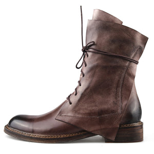 Men Vintage Cowboy Leather Martin Boots