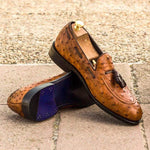Handmade Men's Leather Loafers in Ostrich