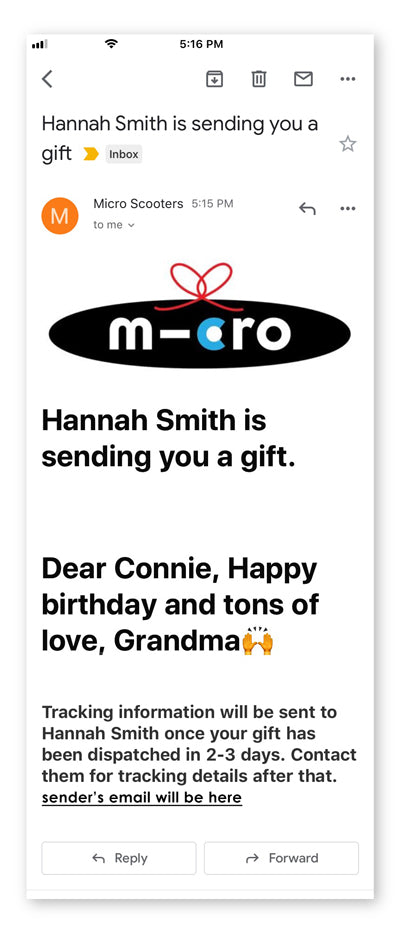 Sample of the the Gift Message Email