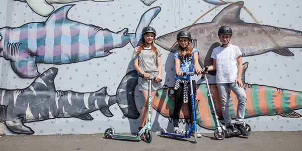 Cool kids with their scooters