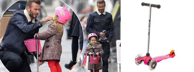 David Beckham and his daughter on the Mini Micro