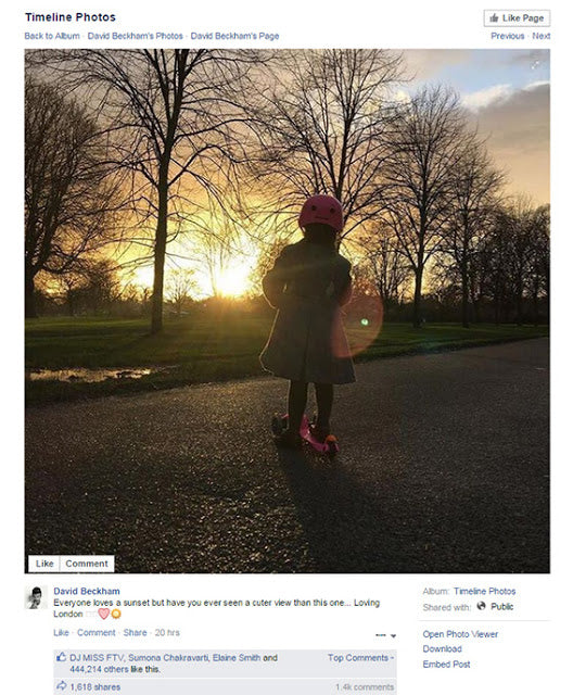 Harper Beckham on her pink Mini Micro scooter at sunset