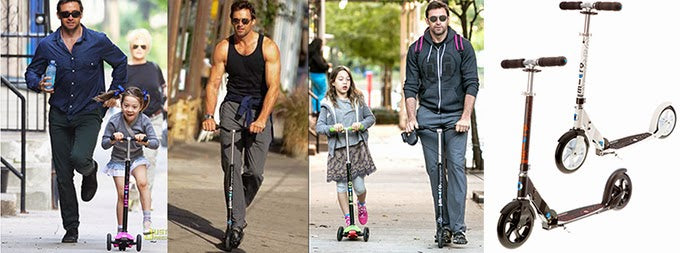 Hugh Jackman  on his Micro Scooters