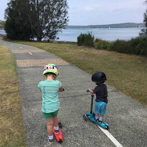 Boys on their Micro Scooters at Warners Bay