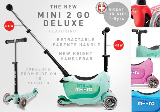 The new Mini2go Deluxe range converts from ride on to scooter