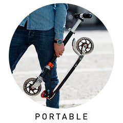 Micro Scooters easily held by commuter