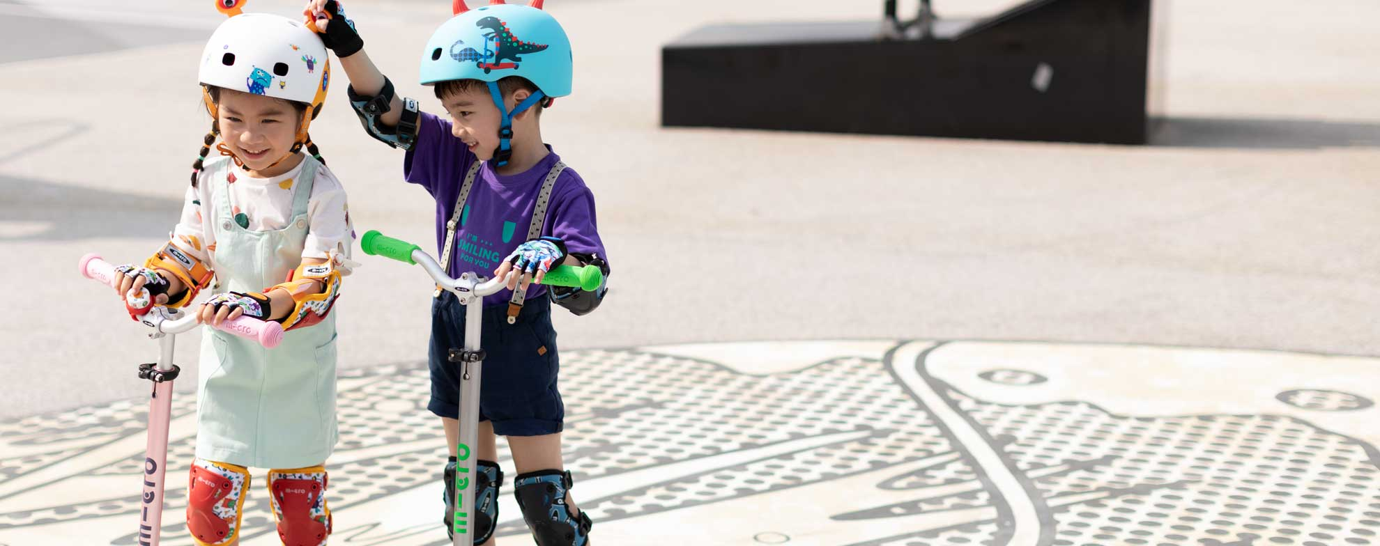Kids wearing their Micro Scooter Safety Protection Gear