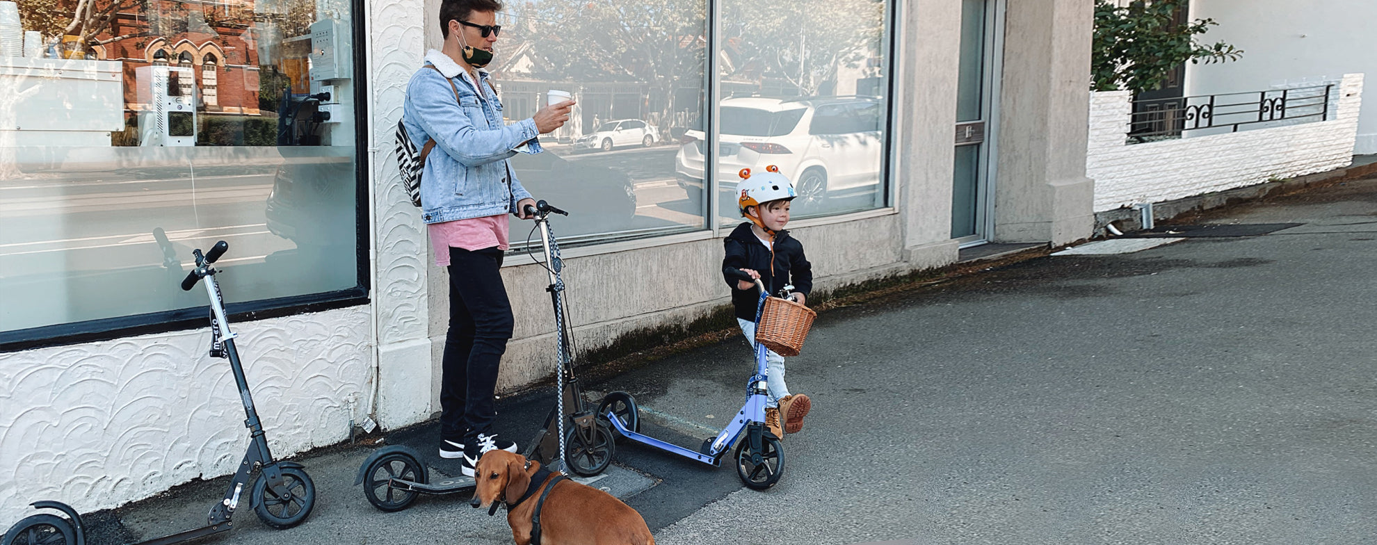 Parent Safety Scooting with their Child on Micro Scooters