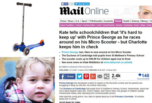 Prince George 'hard to keep up with' on his Micro Scooter