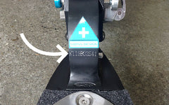 Close up serial number placement aluminium scooters