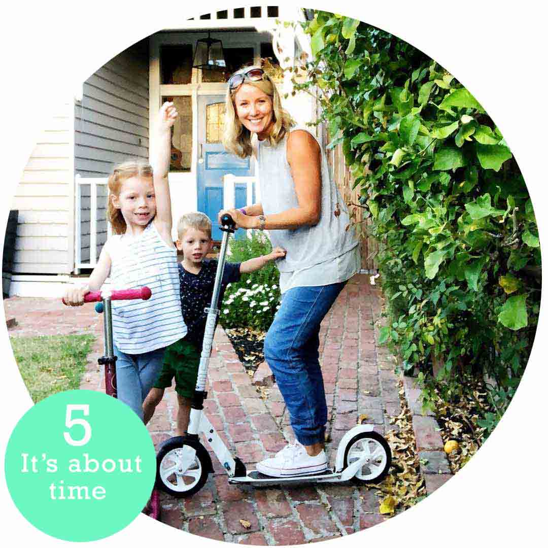 Ella scooting with her kids