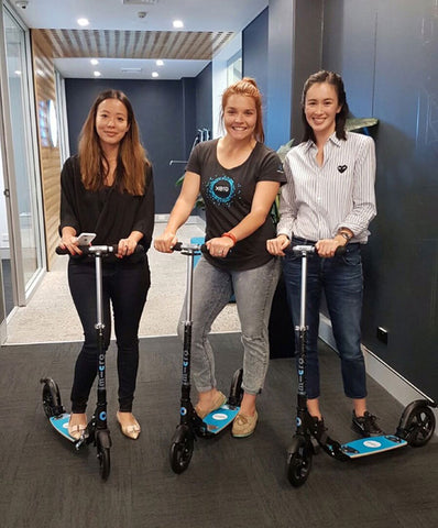Xero Staff on their Micro Scooter Office Fleet