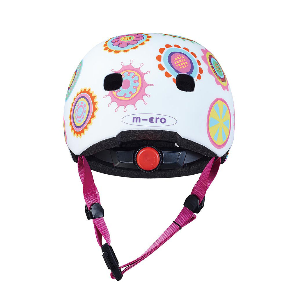 micro scooter doodle spot patterned helmet rear view
