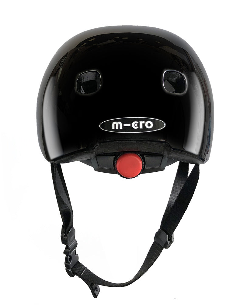 micro scooter plain coloured helmets BLACK GLOSSY REAR