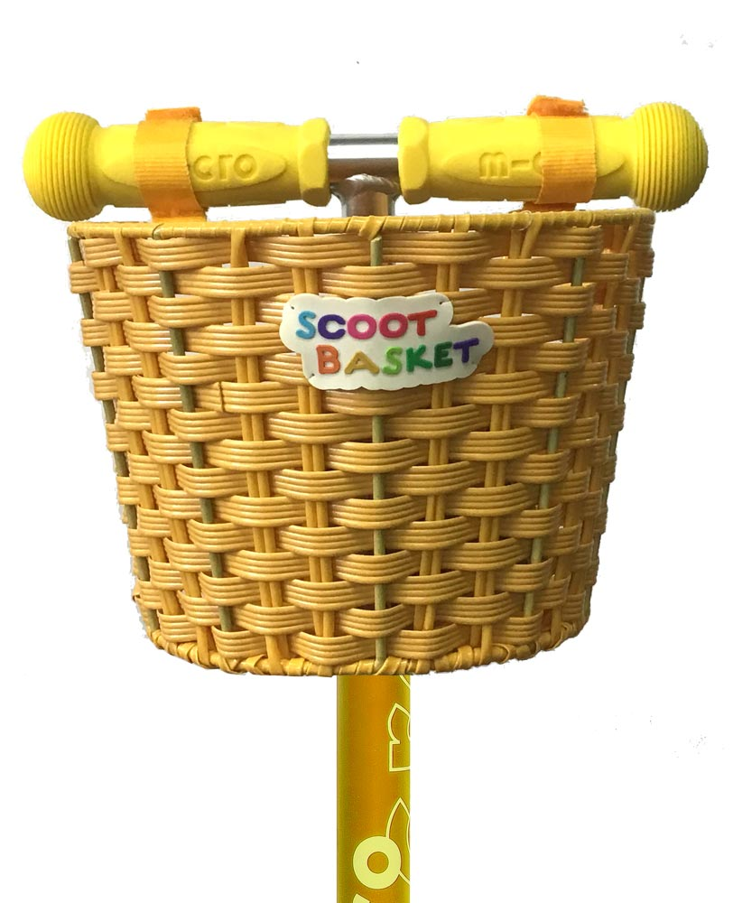 micro scooters scoot basket yellow close up