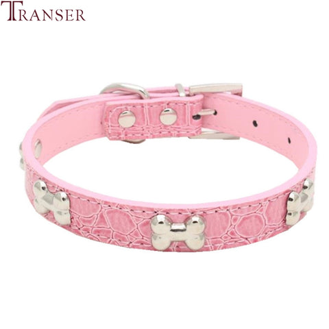 Transer Pet Dog Alligator PU Leather Bone Collar