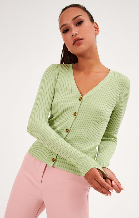 v-neck | knitted cardigan | green color