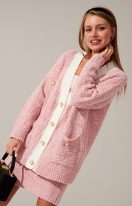 Knitted pink suit set