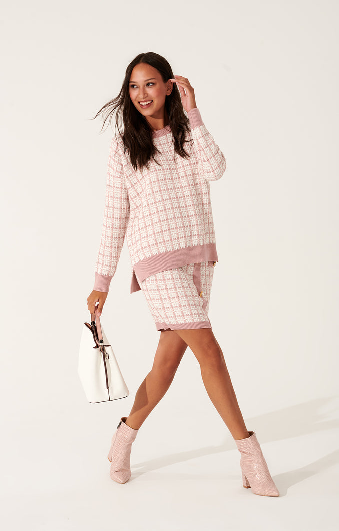 Tweed suit with mini skirt