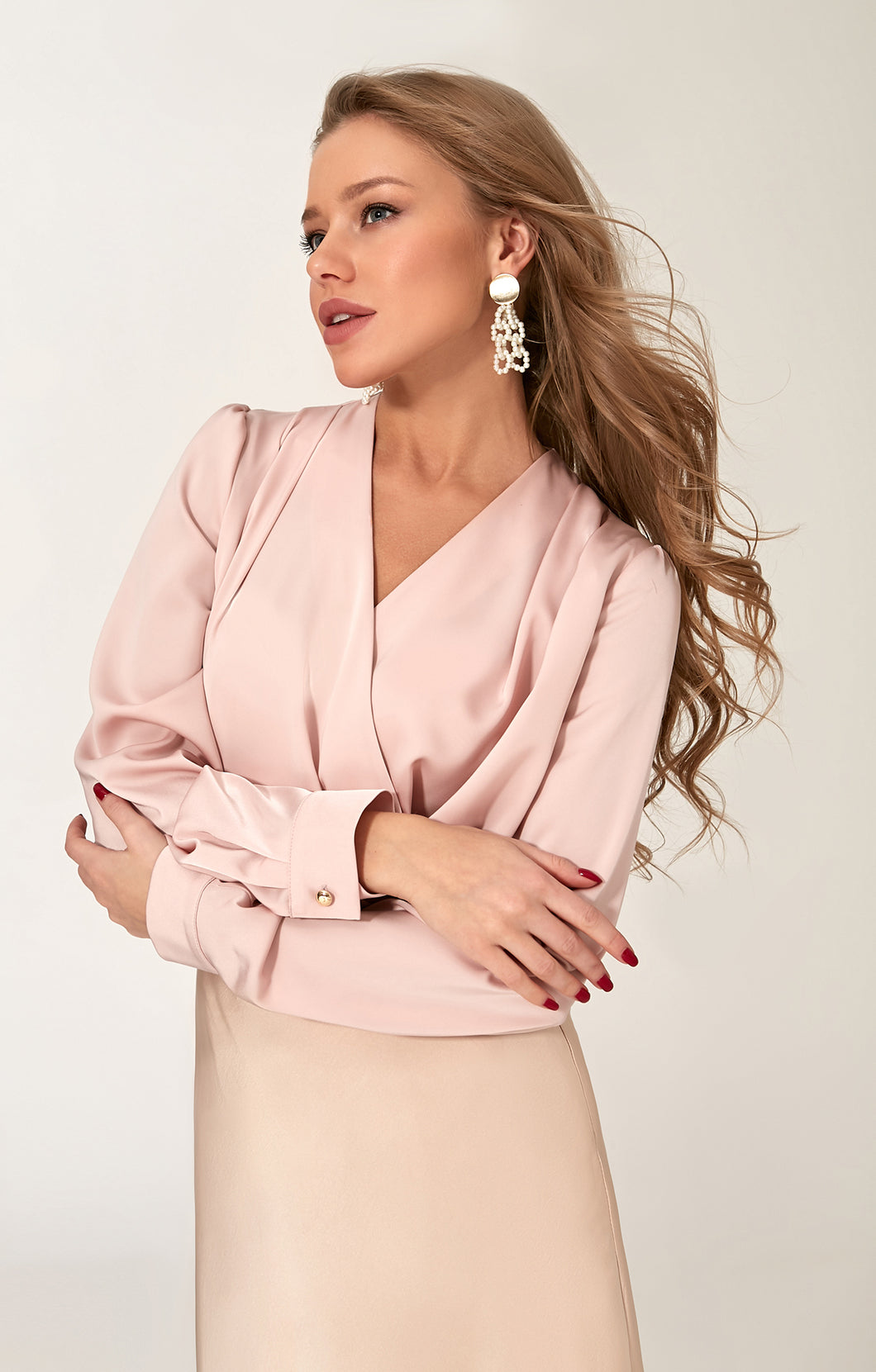 pink blouse | earings