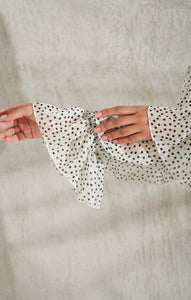 Romantic white midi-dress polka dot
