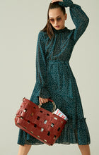 Load image into Gallery viewer, Polka dot trendy dress with voluminous sleeves