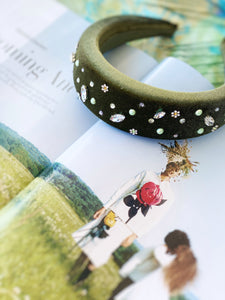 Olive mixed crystal headband