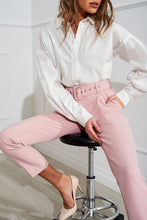 Load image into Gallery viewer, Pink pants with tucks at the waist and a wide belt