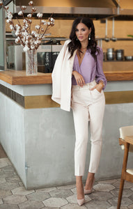 Bodysuit blouse | white dress pants