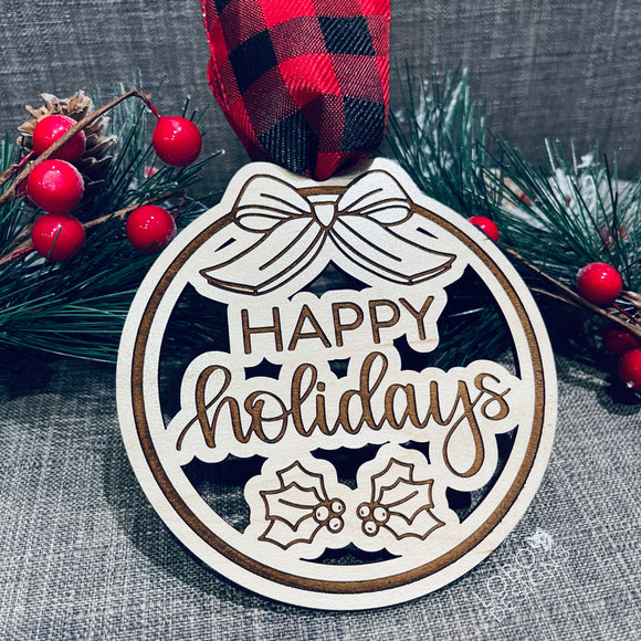 SAMPLE SALE! Happy Holidays Ornament