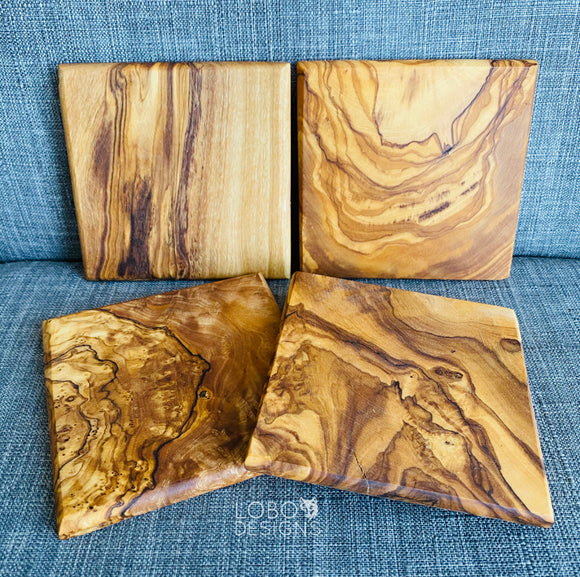 LoBo De-Stash — Olive Wood Coasters (4-Pack)