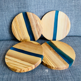 Custom Engraved Olive Wood Coasters w/ Blue Resin Center (Set of 4)