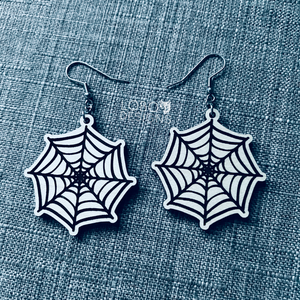 Hand-Drawn Spider Web Halloween Earrings