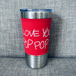 20 oz. Tumbler w/ Red Silicone Sleeve (Single-Side Handwritten Design)