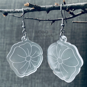 Frosted Acrylic Floral Design Earrings