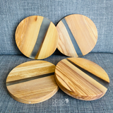 Custom Engraved Olive Wood Coasters w/ Clear Frosted Resin Center (Set of 4)