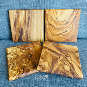 Custom Engraved Olive Wood Coasters (Set of 4)