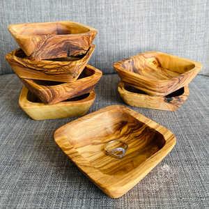 Custom Engraved Olive Wood Ring Bowl / Jewelry Dish (Square)