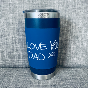 Silicone Sleeve w/ Single-Side Handwritten Engraved Design (Navy)