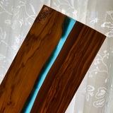Custom Engraved Olive Wood Rectangle Cutting Board w/ Blue Resin