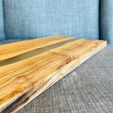 Custom Engraved Olive Wood Rectangle Cutting Board w/ Clear Frosted Resin