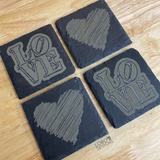 Custom Engraved Slate Coasters (Set of 4)