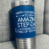 20 oz. Tumbler w/ Navy Silicone Sleeve (Single-Side Custom Design Included)